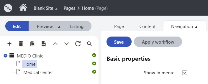 Choosing whether a page is visible in the website's navigation menu