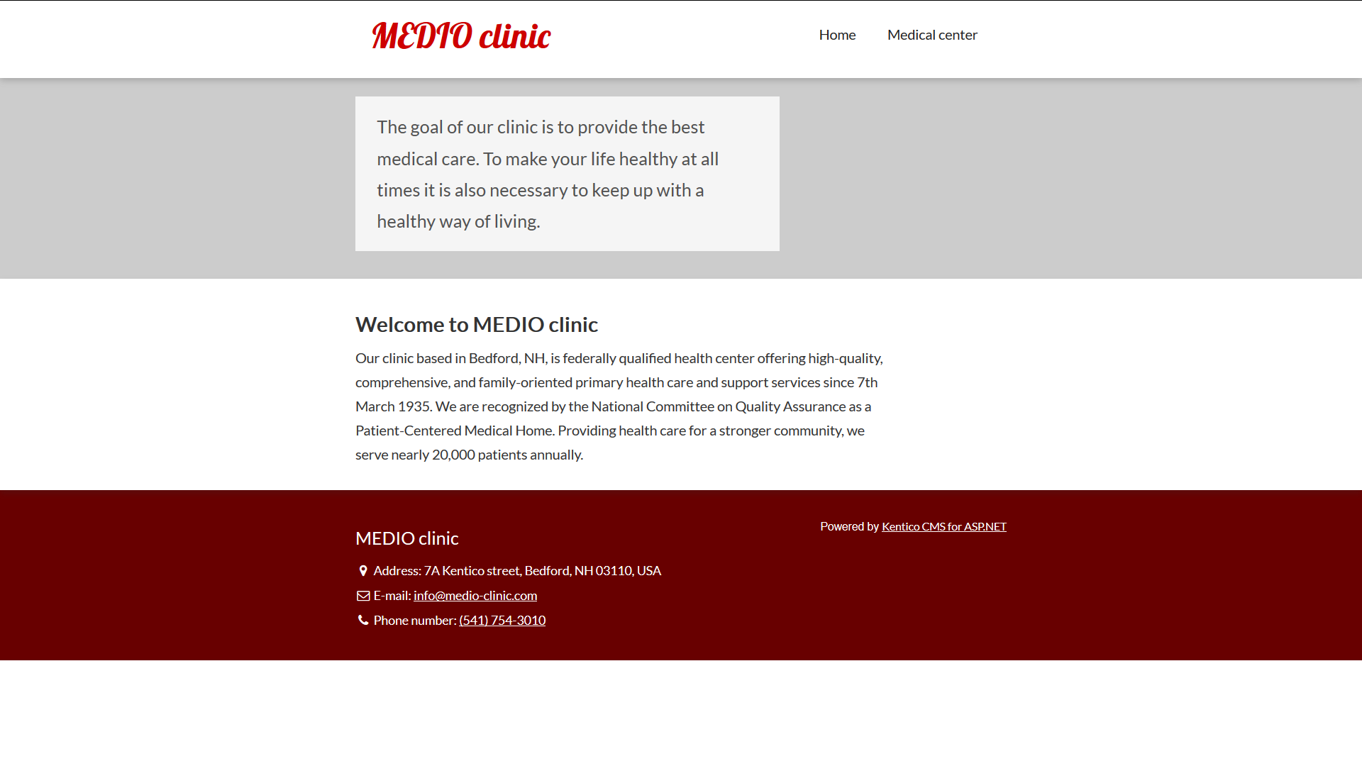 The Medio Clinic's Home page on the live site