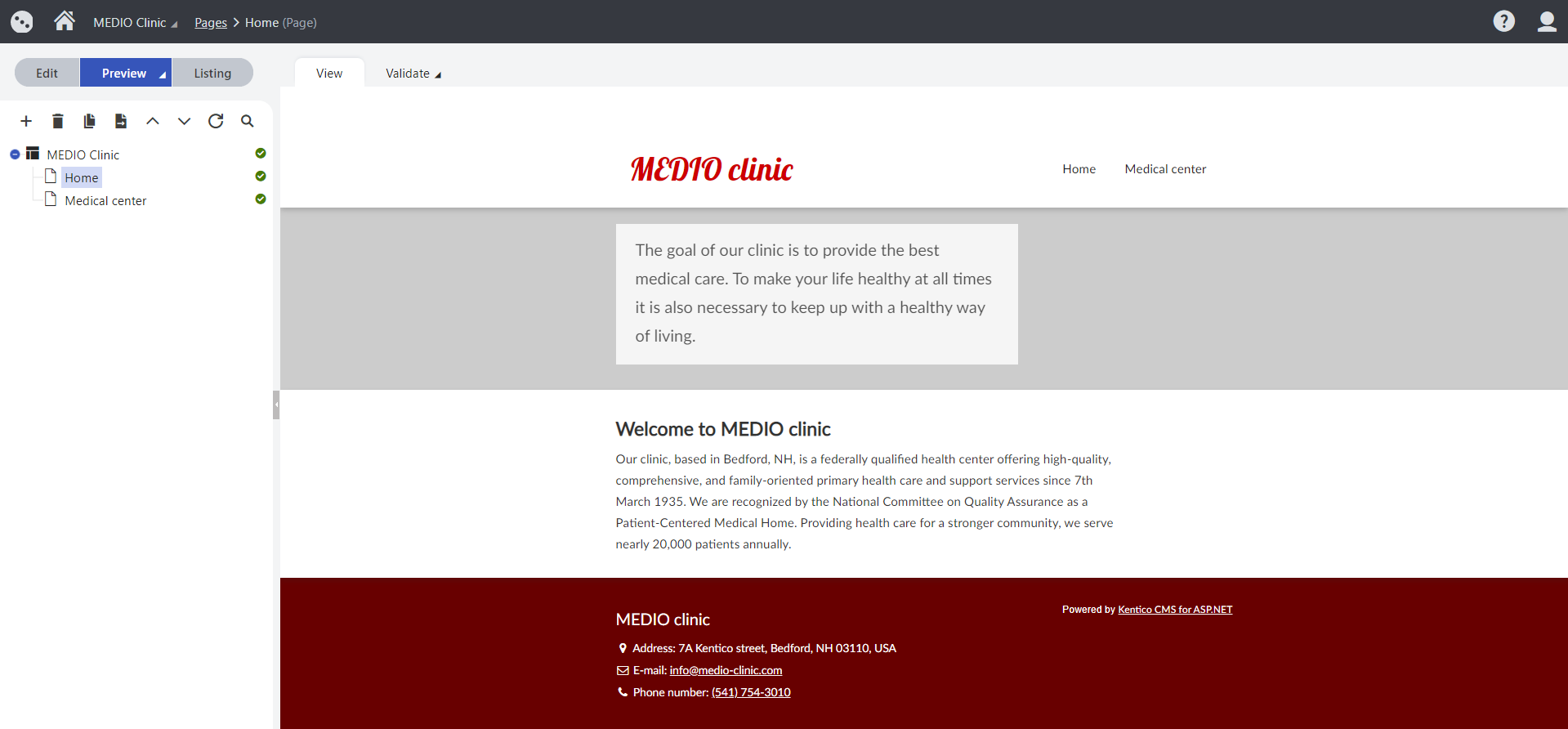 Preview of the Medio Clinic's Home page in the administration interface