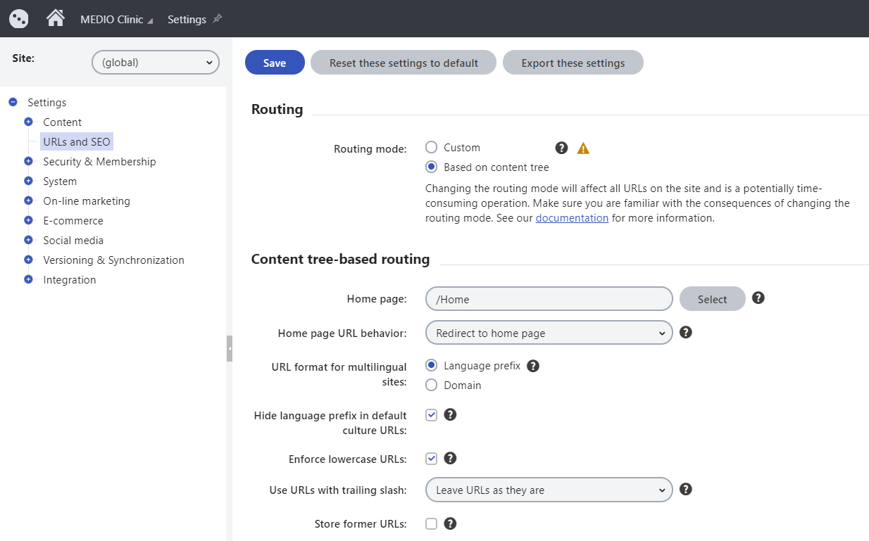 Configuring content tree-based routing