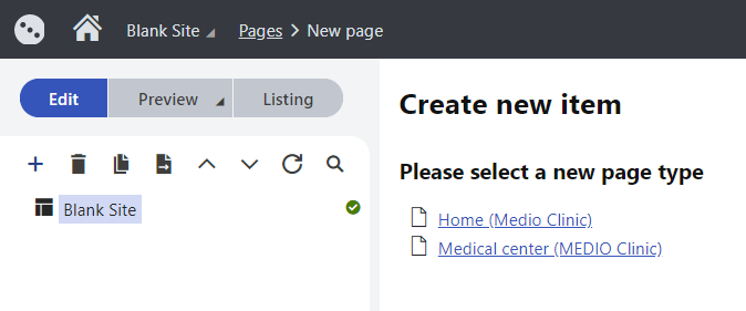 Selecting a page type for a new page in the content tree