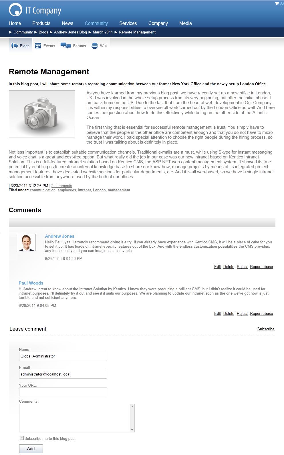 Blogs | Kentico 9 Documentation