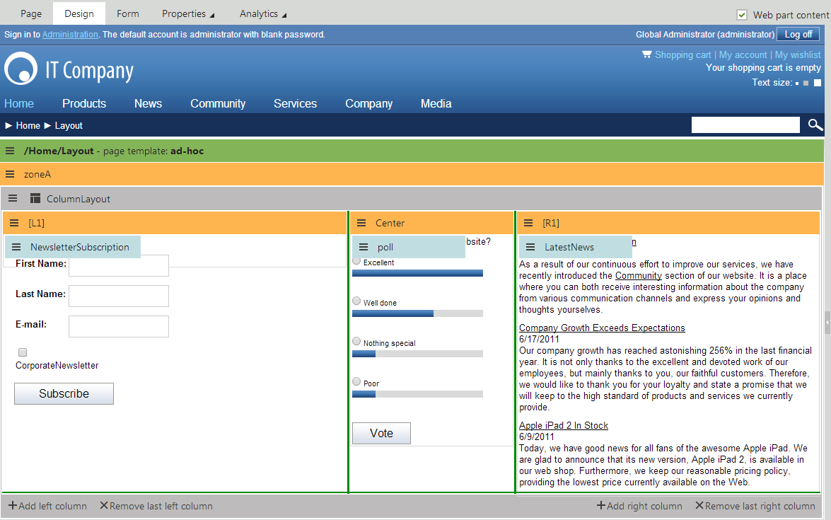 Working with layout web parts kentico 8 documentation for It web page