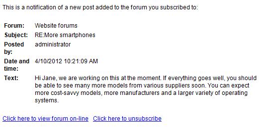 kentico email template - managing forum subscriptions kentico 8 2 documentation