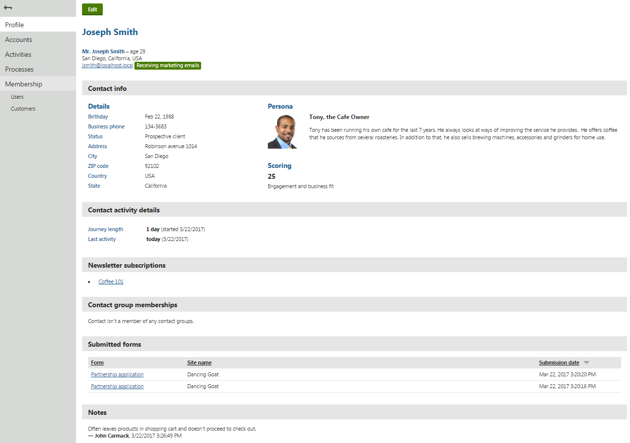 Viewing the contact profile page