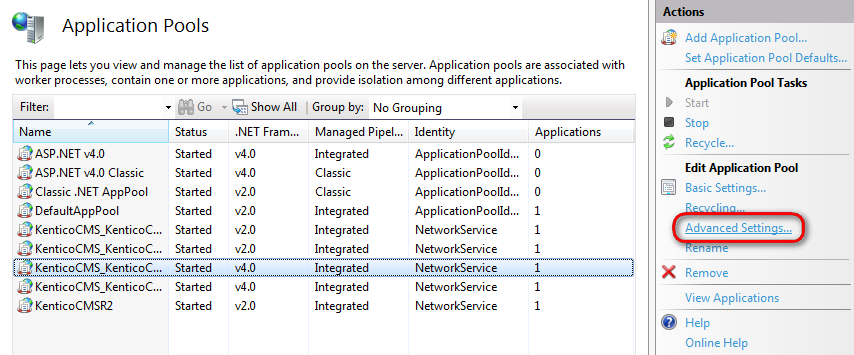 Editing the advanced settings of application pools in IIS