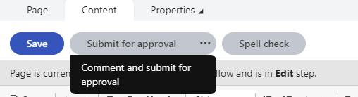 Commenting and submitting a page for approval