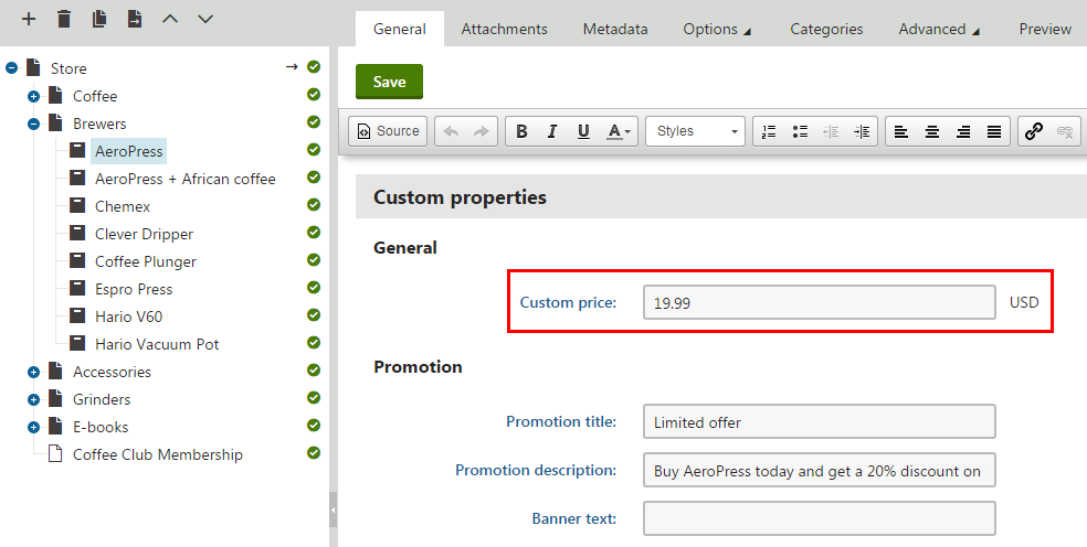Editing the value of a custom price column in the Products application