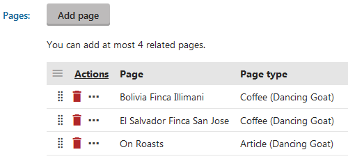 Adding related pages