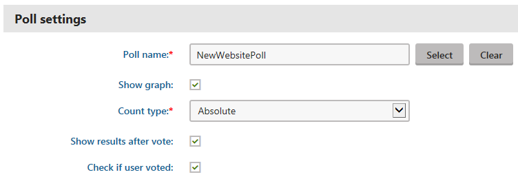 Configuring the polls widget