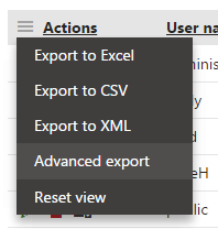 Using advanced export