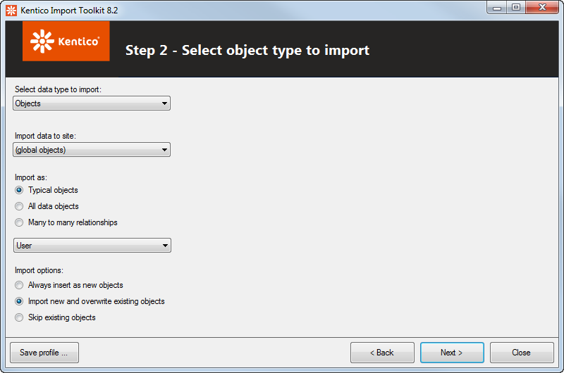 Selecting object types to import