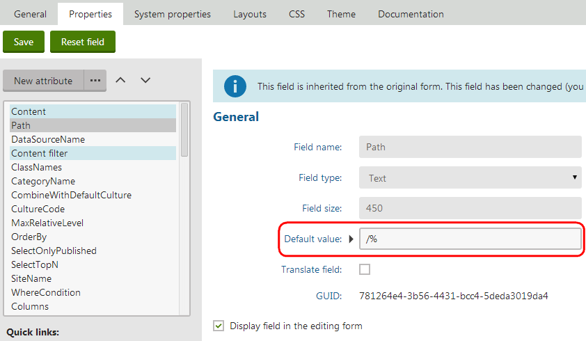 Setting the default value for the property of an inherited web part