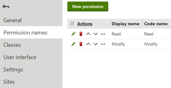 Creating the Read and Modify permissions for a custom module