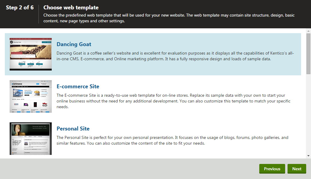 Selecting a web template for the new site
