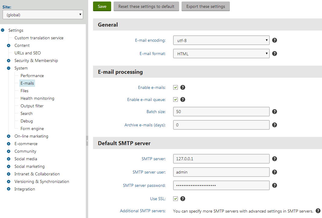 Configuring the primary global SMTP server
