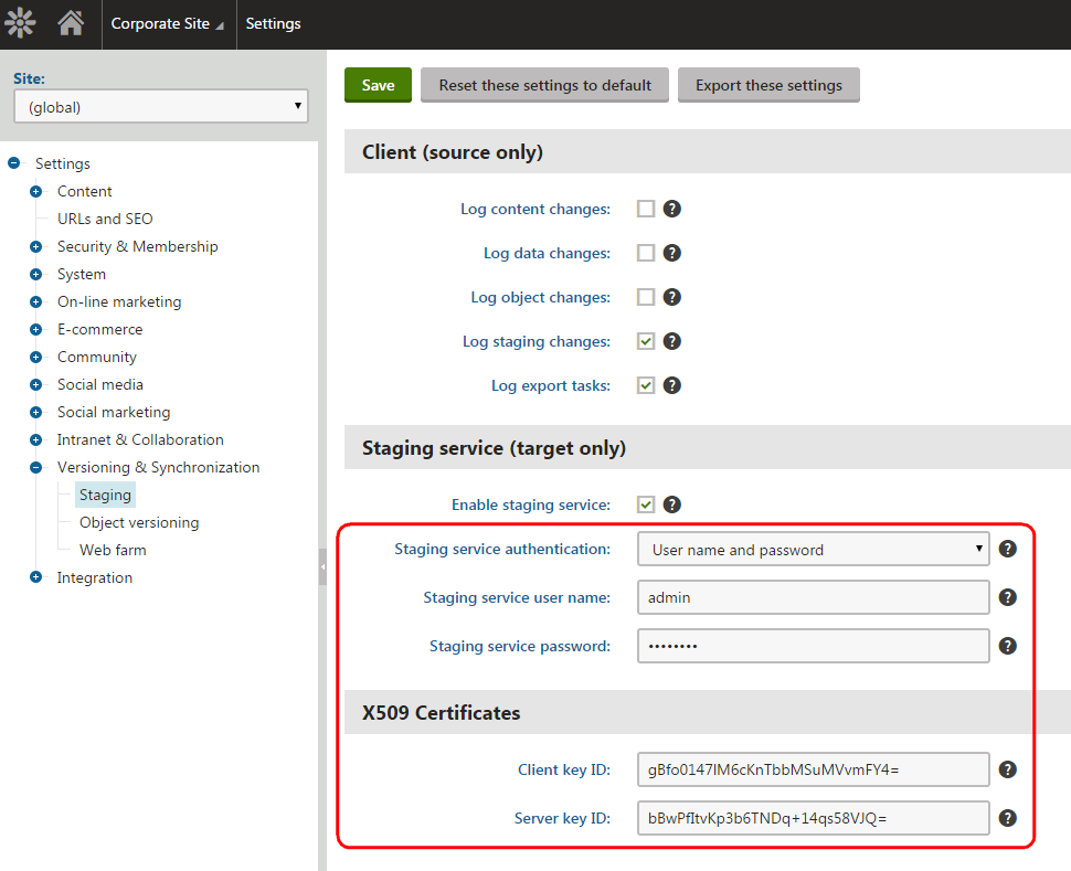 Staging service settings on the target instance