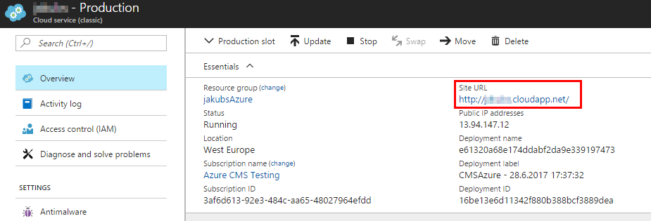 Locating the Site URL property in the Azure portal