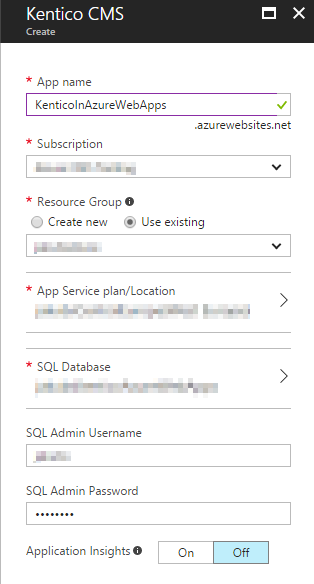 Creating a Kentico instance in Azure Web Apps