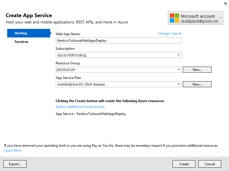 Creating an Azure App Service application in Visual Studio