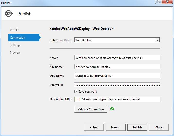 Deploying a Kentico project from Visual Studio using Web Deploy