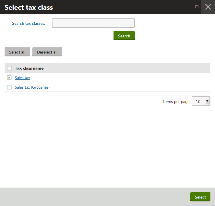 Selecting tax classes