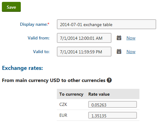 Editing an exchange rate table