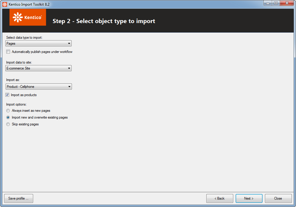 Selecting the object type to import
