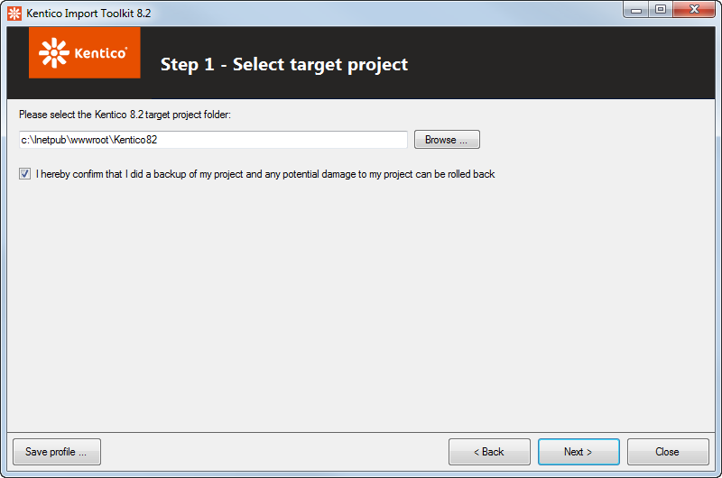 Selecting the target project
