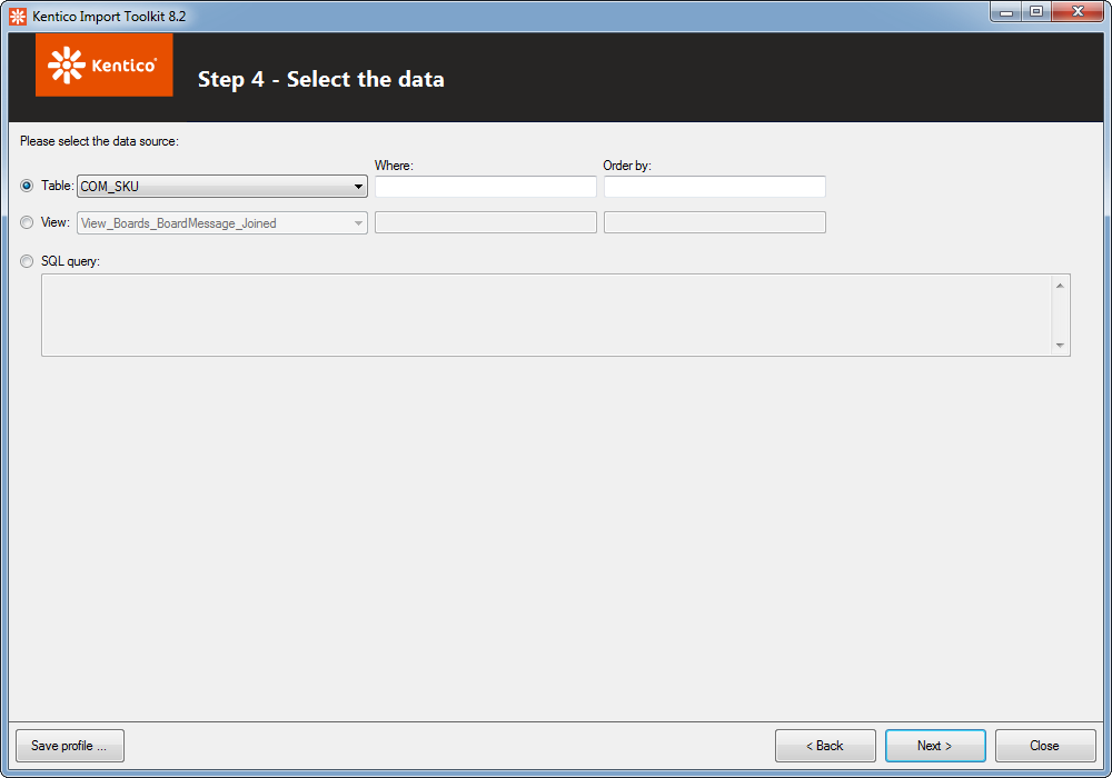 Selecting the data from a MS SQL database