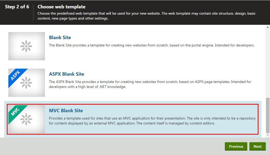 starting with mvc development kentico 10 documentationmvc blank site template selection