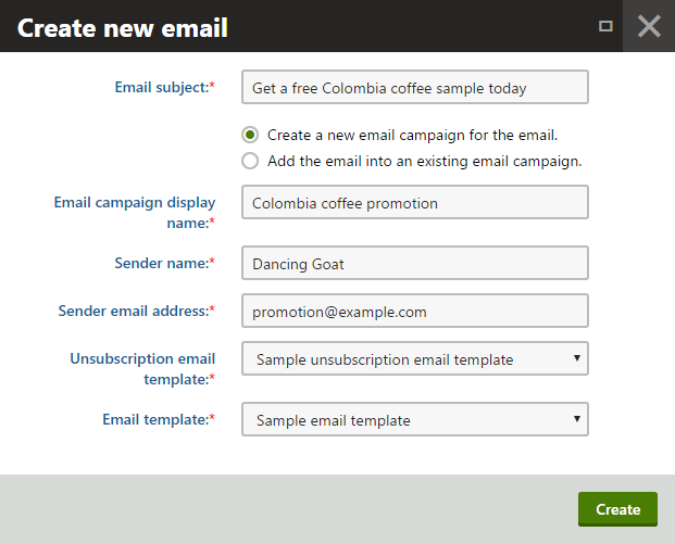Creating a new campaign email