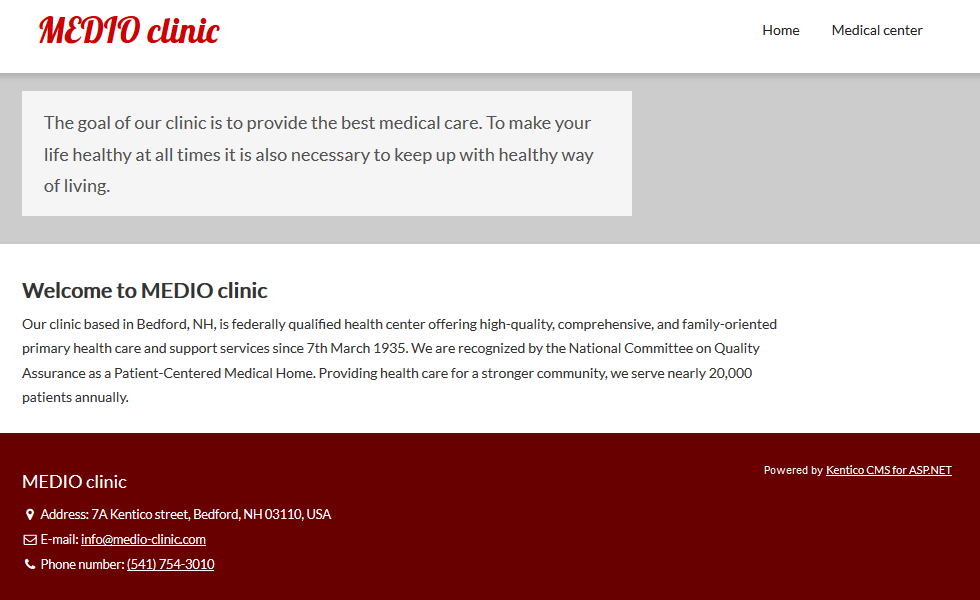 The MEDIO clinic sample website