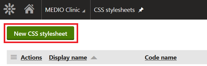 Creating a new CSS stylesheet in Kentico