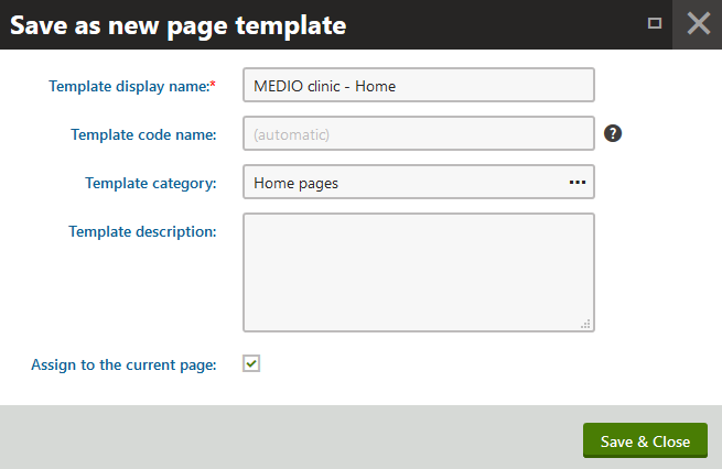 Filling in the details of the new page template