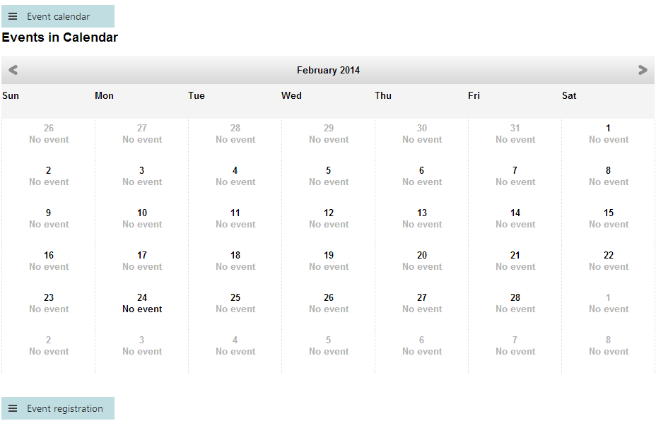 Event calendar displayed on a page