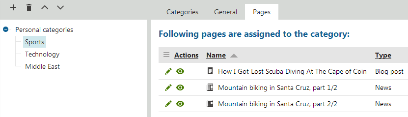 Viewing pages assigned to a personal category