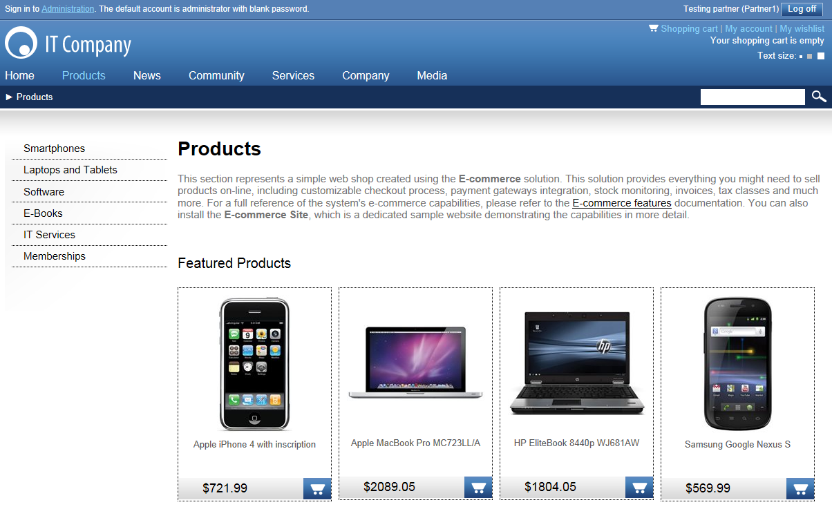 All sections and products are displayed to this user