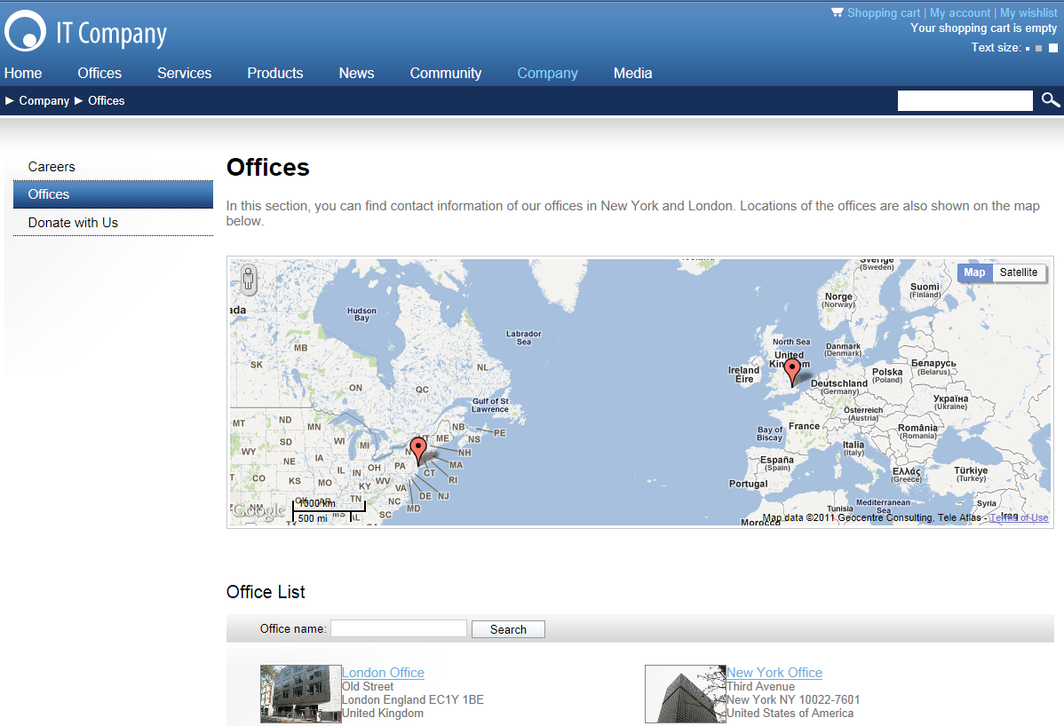 Map displaying office locations on the sample Corporate site