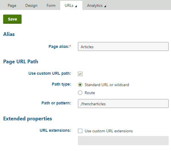 Setting a custom URL path for a page's language version