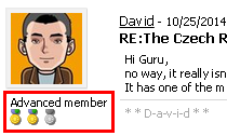 A user badge displayed with a forum post