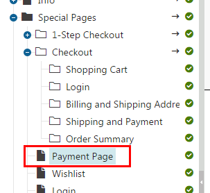 The payment page outside the checkout process