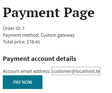 Custom payment gateway form