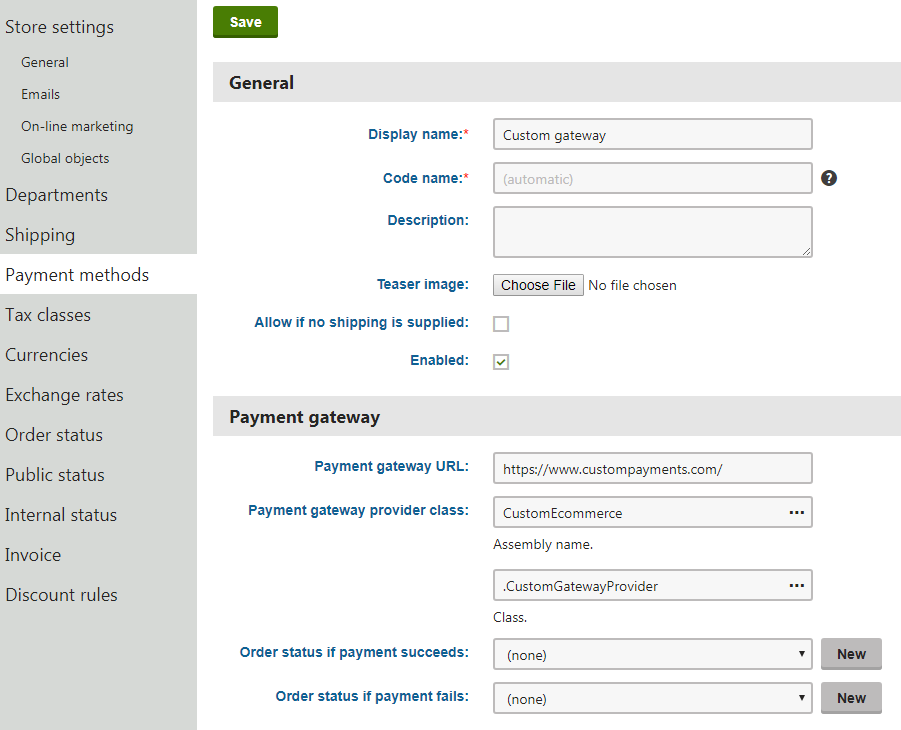 Creating a custom payment gateway