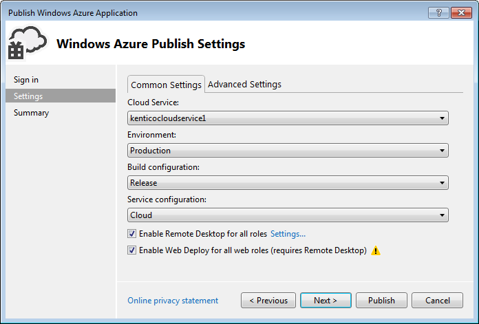 Configuring the settings for publishing an Azure project