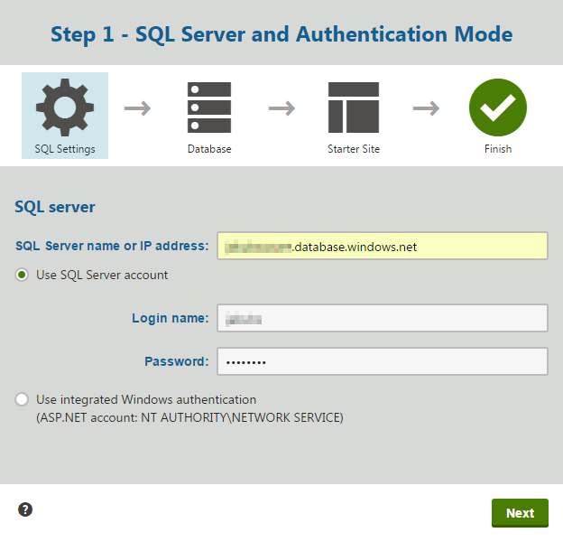 Specifying the Azure SQL server name and its credentials