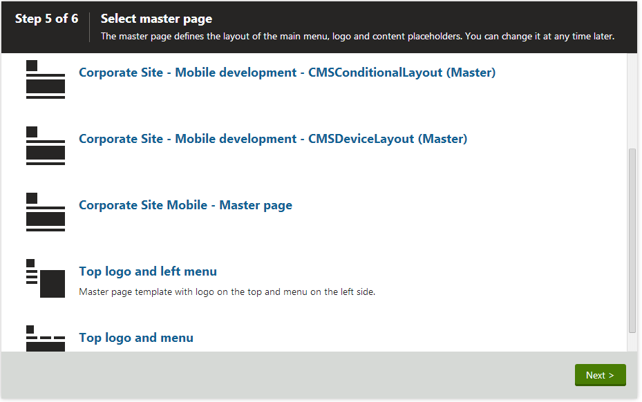 Selecting the master page for a new site