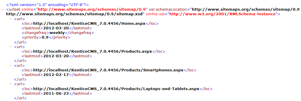 XML output of the Google sitemap generated for a Kentico website