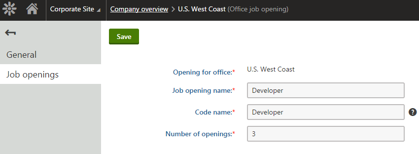 Editing a job opening object under a parent office in the custom module's interface