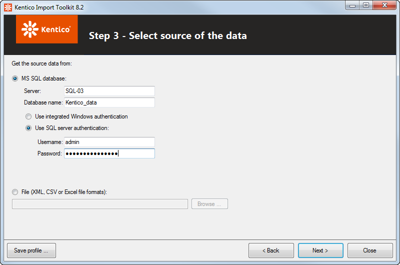 Specifying the source of the import data